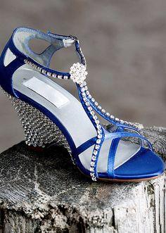 Wedding Wedges -- Blue Bridal Shoes