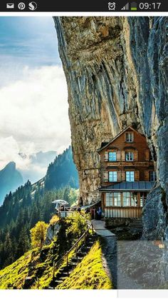 Äscher Cliff Restaurant, Switzerland.