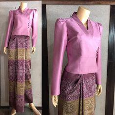 Image may contain: people standing Myanmar Traditional Dress, Thai Traditional Dress, Thai Dress, Dress Up, Filipiniana Dress, Myanmar Dress Design, Kebaya Dress, Thai Fashion, Womens Denim Dress