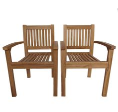 £170 Bentley Garden Pair Of Teak Stacking Arm Chairs