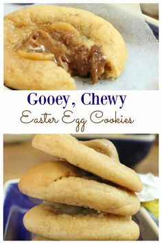 Learn how to make these gooey, chewy, warm easter egg cookies. Delicious chocolate eggs in a goey cookie. The perfect cookie for entertaining over Easter that the whole family will love. No Egg Cookies, Cookies For Kids, Easter Cookies, Cadbury Cookies, Holiday Cookies, Cake Pop Designs, Cake Recipes, Dessert Recipes, How To Melt Caramel
