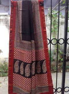 Silk cotton hand block pritned sarees