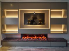 Modern Fireplace Decor, Fireplace Tv Wall, Living Room With Fireplace, Fireplace Design, Elegant Living Room, Living Room Modern, Living Room Interior, Home Living Room, Living Room Decor