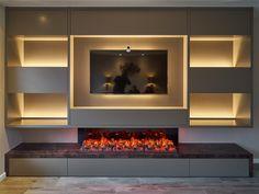 Elegant Living Room, Living Room Modern, Living Room Interior, Home Living Room, Living Room Decor, Feature Wall Living Room, Living Room Wall Units, Living Room With Fireplace, Fireplace Tv Wall