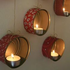 With the help of this detailed craft tutorial you can make this cute wall decoration : a diy tea candle holder from upcycled tin cans! If you don't like tea candles, you can use this idea to store little toys or succulents as well. Fall Arts And Crafts, Crafts To Make, Easy Crafts, Tea Candle Holders, Tea Candles, Washi, Diy Hammock, Diwali Party, Cheap Hobbies