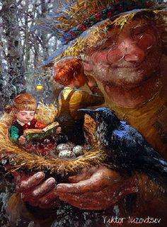 Children and Eggs in Nest::Victor Nizovtsev