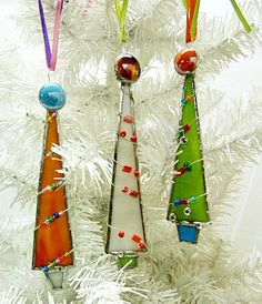 Whimsical  Stained Glass Christmas Tree Ornament by miloglass, $25.00