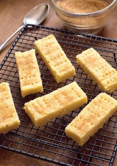 Shortbread- subsitute cornflour or potato flour 3parts and 1 part polenta for semolina to get crunchy texture and add vanilla
