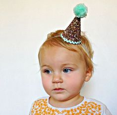 tiny party hats on elastic with flowers