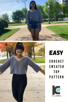 Crochet Long Sleeve Tops, Crochet Crop Top, Easy Crochet, Tutorial Crochet, Crochet Yarn, Crochet Designs, Crochet Patterns, Cropped Pullover, Mode Crochet