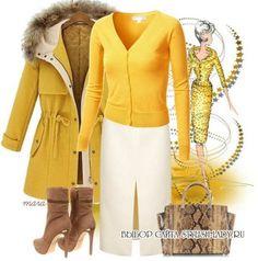 С чем носить желтое пальто, фото