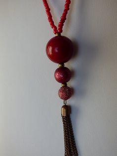 SAUTOIR Sphère rouge  Made in FRANCE par LesArtsdeSylvie sur Etsy
