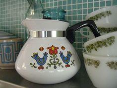 Vintage Corningware Coffee Carafe with Blue Birds ~ Mary Wald's Place -  | corningware teapot