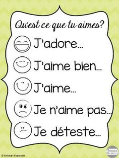'Qu'est ce que tu aimes?' French Discussion Poster and Cards French Language Lessons, French Language Learning, French Lessons, Spanish Lessons, Spanish Language, Dual Language, German Language, Spanish Class, Basic French Words