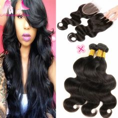 Grade 7A Human Hair Bundles With Closure Brazilian Virgin Hair Weave With Closure Brazilian Body Wave Hair Style With Closure  * Click the VISIT button for detailed description