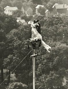 Allan Grant - Flag pole wedding, 1946. This is crazy!