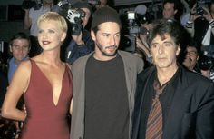 """Charlize Theron, Keanu Reeves, and Al Pacino arrive at the movie premiere of """"The Devil's Advocate"""" - October Keanu Reeves John Wick, Keanu Charles Reeves, Hollywood Actresses, Actors & Actresses, Keeanu Reeves, The Devil's Advocate, Blockbuster Film, True Detective, Al Pacino"""