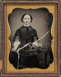 1850 Lady telegrapher, great collar, lace overlay on dress and undersleeves, from Cowans Auctions this Dag sold for  over ten thousand dollars  WOW!!!