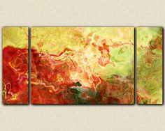 Large triptych abstract art on stretched canvas por FinnellFineArt