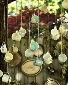 the Back Porch with Jennifer Rizzo Hanging teacups! A novel garden party, outdoor wedding idea or Alice in Wonderland themed bachelorette party! A novel garden party, outdoor wedding idea or Alice in Wonderland themed bachelorette party! Décoration Garden Party, Garden Party Decorations, Garden Parties, Diy Decoration, Garden Wedding, Wedding House, Wedding Wall, Wedding Backyard, Wedding Reception