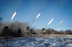 Pro-Russian rebels stationed in the eastern Ukrainian city of Gorlivka, Donetsk region, launch missiles from Grad launch vehiclesPro-Russian rebe...