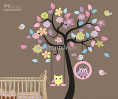 Wholesale Wall Stickers - Buy Large Wall Stickers Removable Wall Sticker Cute Cartoon Owl Blooms Dream Nursery Children's Room Bedroom Wallpaper, $9.58 | DHgate