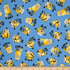 Minions Tossed Blue Universal 1 in a Minion Despicable Me Cotton Fabric per fat quarter per metre by LovelyJubblyFabrics on Etsy