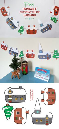 Super diy christmas village ideas free printable ideas - Gifts and Costume Ideas for 2020 , Christmas Celebration Diy Christmas Village, Christmas Bunting, Christmas Villages, Christmas Holidays, Christmas Tree, Printable Christmas Decorations, Free Christmas Printables, Diy Party Decorations, Christmas Projects