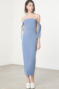 Tie Sleeve Strapless Dress in Dusty Blue Special Dresses, Short Dresses, Summer Dresses, Lavish Alice, Scuba Fabric, Dusty Blue, Capsule Wardrobe, High Fashion, Strapless Dress