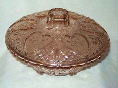 PINK DEPRESSION GLASS FOOTED ( 6 ) WITH LID CANDY DISH