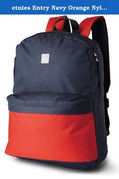 etnies Entry Navy Orange Nylon New Mens Womens Unisex Shoulder Bag Backpack. The Entry Backpack Bag in Orange/Navy from Etnies. Featuring a large main compartment, small front stash compartment, padded straps for comfort and support and Etnies detailing throughout. A simple but effective backpack ideal for college, school, university and everyday use. Dimensions: 11.5W X 16H X 5D Inches.