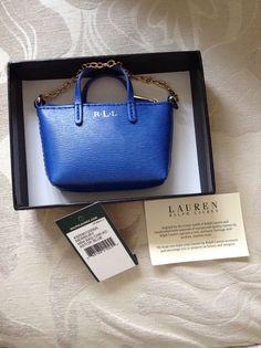 a03a103887af Lauren Ralph Lauren Newbury Blue mini bag key charm key fob Brand New With  Tag in