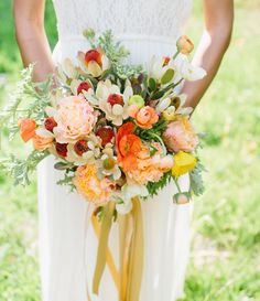 orange bouquet featuring poppies, ranunculus, peonies and magnolias by Knot Just… Orange Wedding Flowers, Bridal Flowers, Flower Bouquet Wedding, Floral Wedding, Purple Wedding, Red Flowers, Spring Wedding, Yellow Bouquets, Floral Bouquets