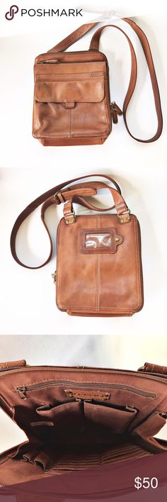 Leather Fossil Purse Leather, crossbody purse. Approximately 8in x 10in. 3 roomy pockets. Two are zipper enclosed and one is a magnetic closure. Main pocket includes wallet style card holder pockets. Fossil Bags Crossbody Bags