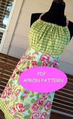 APRON PATTERN PDF Woman's Full Apron Tutorial by SugarPieChic