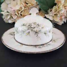 Vintage Paragon FIRST LOVE Round Covered Butter Dish, Yellow Gray White Roses, Platinum Edge, Royal Warrant England, Round Cheese Keeper Bubble Paper, Glass Tea Cups, Color Scale, Cabbage Roses, Box With Lid, Dinner Sets, Vintage China, Tea Cup Saucer, Butter Dish