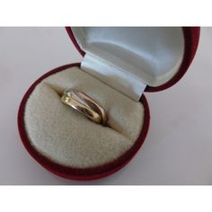 Vintage italien 14 K Triple or bague de mariage, marqué 585 Italie... ($650) ❤ liked on Polyvore featuring jewelry, 14k jewelry, rose jewellery, vintage jewelry, petite jewelry and rose jewelry