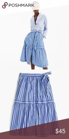 "J. Crew Button-front striped skirt Bought final sale and decided I didn't like it on me. 27 3/4"" long Cotton Fully lined with belt and pockets.  Will post pictures of skirt tomorrow. J. Crew Skirts Midi"