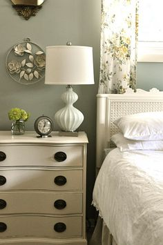 dresser used as a nightstand- really want something similar for my room!
