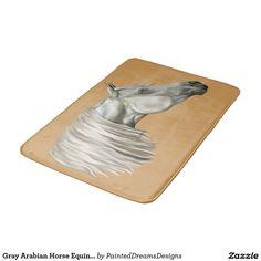 Gray Arabian Horse Equine Portrait Bathroom Mat