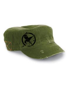 the games army green destroyed military cap embroidery mockingjay symbol. $20.00, via Etsy.