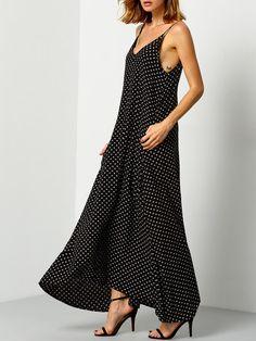 Vestido cuello V flores cami -negro-Spanish SheIn(Sheinside)