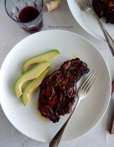 Food for thought: Χοιρινές μπριζόλες μαριναρισμένες με δενδρολίβανο, μουστάρδα και μπαλσάμικο Everyday Food, Steak, Pork, Recipes, Kale Stir Fry, Steaks, Ripped Recipes, Pork Chops