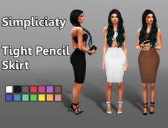 Simpliciaty: Tight Pencil Skirt • Sims 4 Downloads