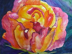 Joseph's Coat Rose - By Watercolour Artist Sherren MacLeod