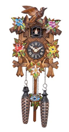 cuckoo clock seven leaves three birds and nest day movement  cuckoo clock seven leaves three birds and nest 8 day movement cuckoo clocks clocks and nest