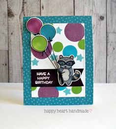 Lawn Fawn - Holiday Party Animal, Let's Bokeh, Admit One, Beachside paper _  Happy Heart Studio: Raccoon Birthday Card