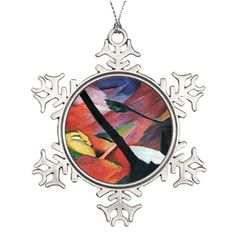 Custom Christmas Snowflake Ornament Deer in the Forest II by Franz Marc Reh im Walde Santa Christmas Snowflake Ornaments ** You can get additional details at the image link.