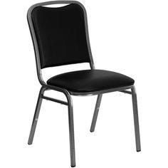 """HERCULES Series Stacking Banquet Chair with Black Vinyl and 1.5"""" Thick Seat…"""