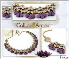 """Do you know new bead """"Amos """" by PUCA? Free pattern """"Amour"""" Necklace de Puca when you buy 3 bags Amos bead in my Etsy Shop Beaded Necklace, Beaded Bracelets, Beaded Jewelry Patterns, Bijoux Diy, Schmuck Design, Beading Tutorials, Czech Glass Beads, Bead Weaving, Pearl Beads"""